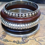 Uma 5 Piece Metal & Wood Bangle Set