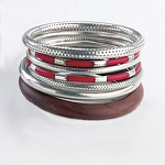Tara 7 Piece Bangle Set in Coral