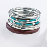Tara 7 Piece Bangle Set in Turquoise