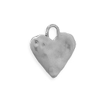 Oxidized Silver Textured Heart Charm Pendant