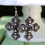 Kara Antiqued Cross Fashion Earrings