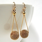 Glitter Ball Drop Gold Earrings