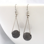 Glitter Ball Hematite Drop  Earrings
