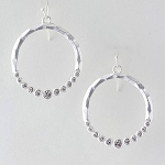 Marlyn Crystal Studded Circle Earrings in Silver