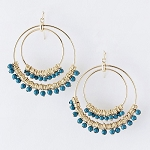 Turquoise  Bead Double Hoop Earrings