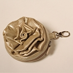 ILI Leather Flower Coin Purse with Key Ring