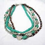 Figi Turquiose  Silver Bead Necklace