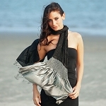 Sevya Sanchita Black and Silver Silk Scarf