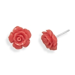 Salmon Pink Rose Stud Earrings