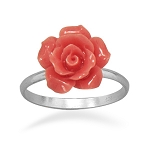 Salmon Pink Rose Sterling Ring