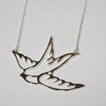 ZAD Swallow Cutout Silver  Necklace