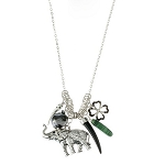 Elephant Silver Charm Necklace & Earring Set