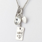 Love Charm Necklace Set in Gold or Silver