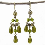 World Finds Tia Chandelier Earrings in Olive