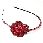 World Finds Crochet Flower Headband in Berry