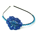 World Finds Crochet Flower Headband in Cobalt
