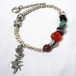 Lizou Dove Charm and Stone Bracelet