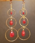 Calico Juno Ruby Drop Circle Earrings
