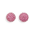 Maci Pink Crystal Ball Stud Earrings