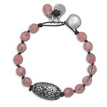 Sara Pink Bead and Leather Charm Bracelet
