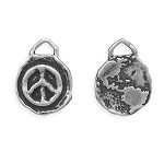 Reversible World Peace Oxidized Silver Charm