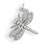 Dragonfly Silver Charm or Pendant
