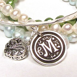 Wax Seal Initial Charms in Sterling Silver