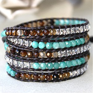 Lizou Dallas Turq and Brown Wrap Bracelet