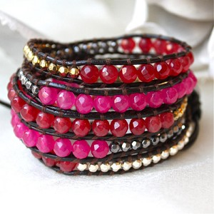 Lizou Wrap Love Pink and Red Bracelet