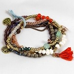 Lizou Beaded Peace Tassel Bracelet