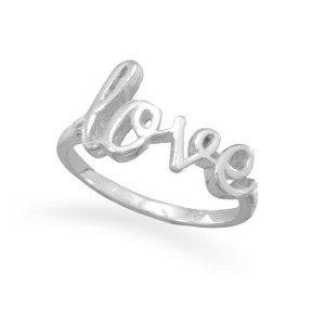 Love Script Sterling Silver Ring