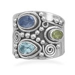 Ornate Multistone Sterling Silver Ring