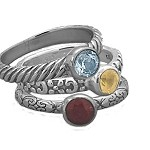 Sterling Silver Gemstone Stack Rings