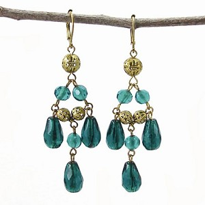 World Finds Tia Chandelier Earrings in Teal